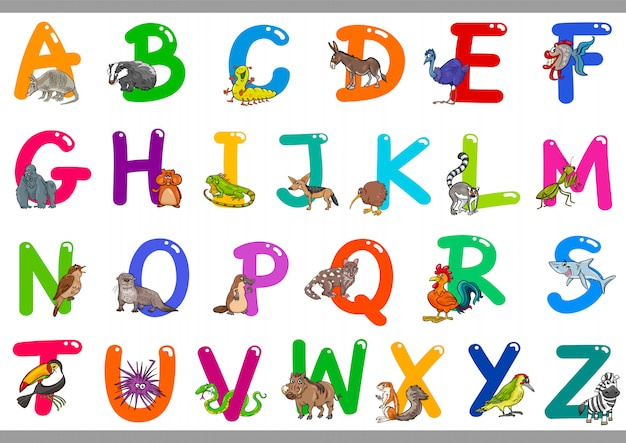Alfabeto di cartone animato con personaggi animali felici Vettore Premium
