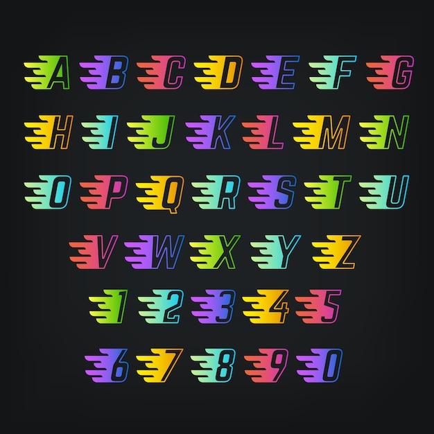 Alfabeto di colore di energia. Vettore Premium