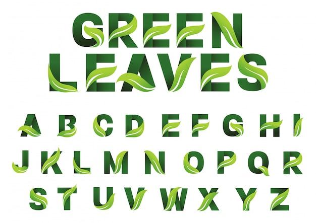 Alfabeto di foglie verdi Vettore Premium