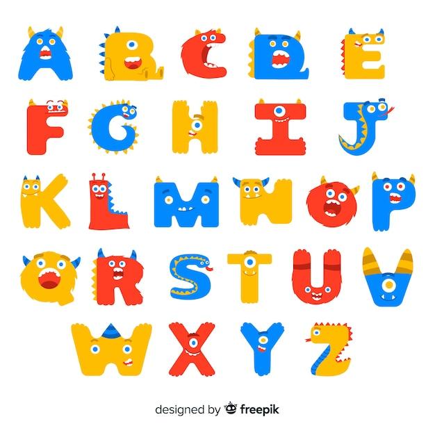 Alfabeto di halloween con lettere mostro Vettore gratuito
