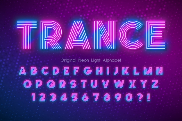 Alfabeto di luce al neon, carattere incandescente extra multicolore. Vettore Premium