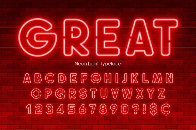 Alfabeto di luce al neon, numeri, carattere extra luminoso Vettore Premium