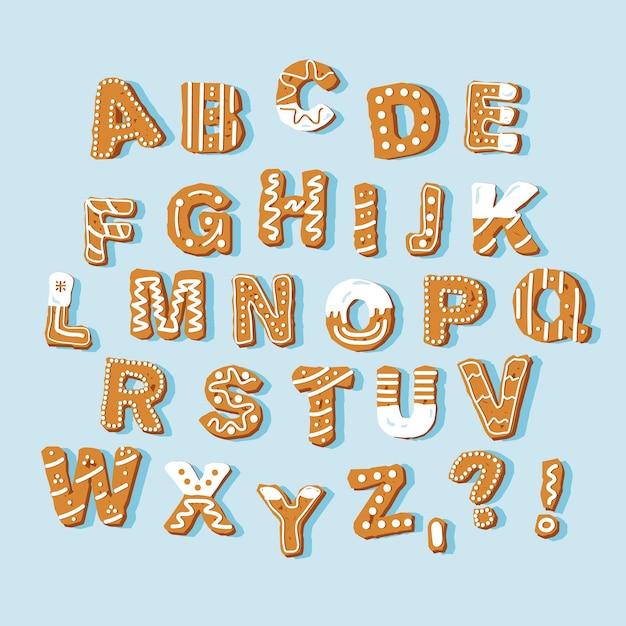 Alfabeto di natale di pan di zenzero Vettore gratuito