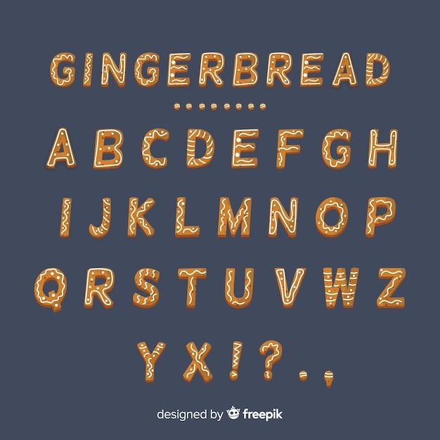 Alfabeto di pan di zenzero Vettore gratuito