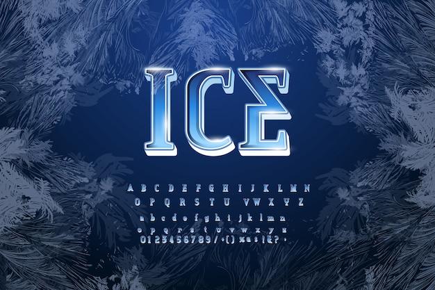 Alfabeto di tipo di carattere di cristallo di ghiaccio. lettere, numeri e segni di punteggiatura congelati. Vettore Premium