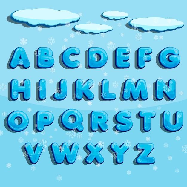 Alfabeto di vettore di inverno con neve. Vettore Premium