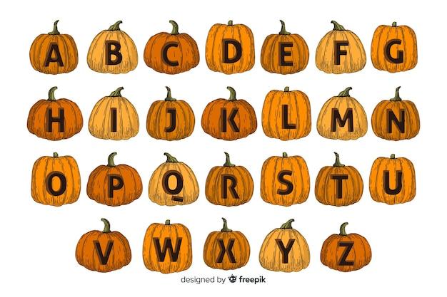 Alfabeto di zucca di halloween Vettore gratuito