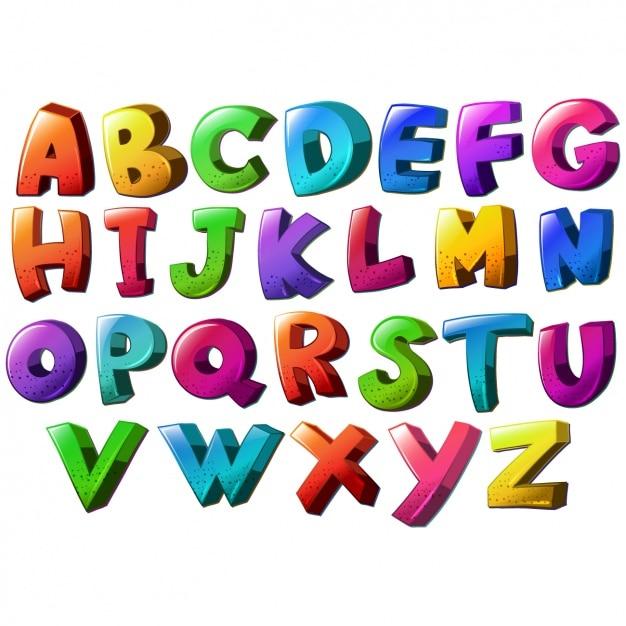 Alfabeto disegno colorato scaricare vettori premium - Lettres alphabet originales ...
