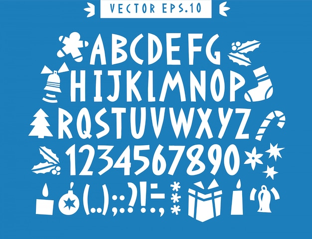 Alfabeto divertente disegnato a mano di vettore. disegnato a mano lettere latine, numeri e icone di natale. lettering di natale. Vettore Premium