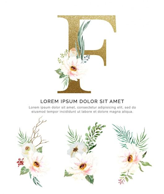 Alfabeto f con mazzi di fiori collezione acquerello. Vettore Premium