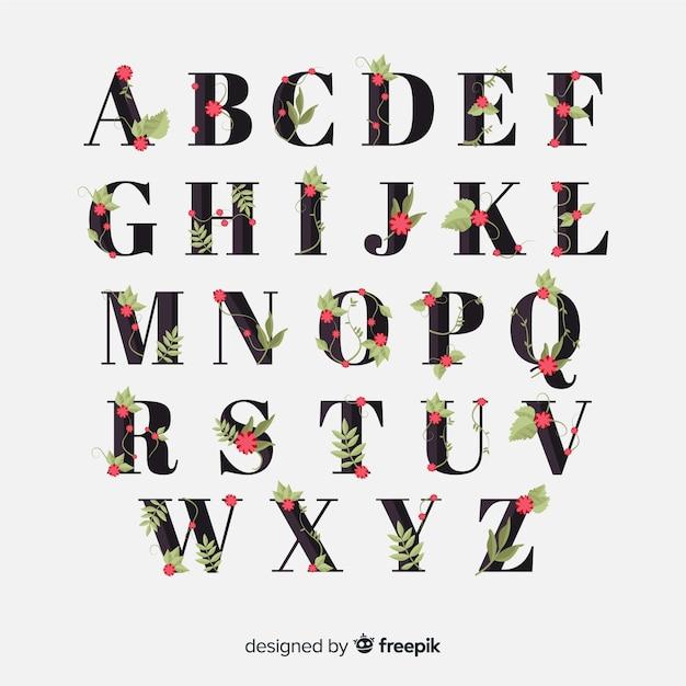 Alfabeto floreale disegnato a mano Vettore gratuito