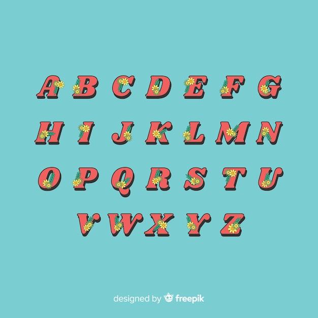 Alfabeto floreale in stile anni '60 Vettore gratuito