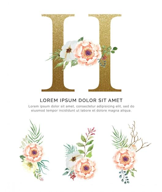 Alfabeto h con mazzi di fiori collezione acquerello. Vettore Premium