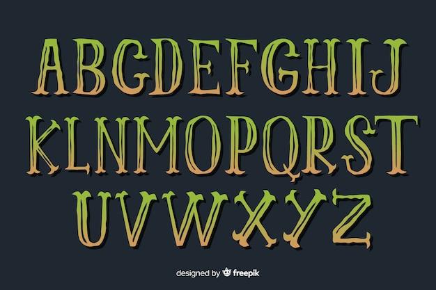 Alfabeto halloween gradiente vintage Vettore gratuito