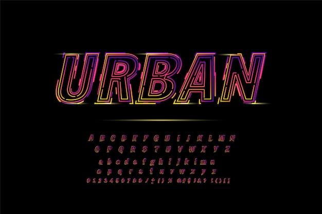 Alfabeto in grassetto al neon per maglietta, corsa, gioco, promozione, poster Vettore Premium