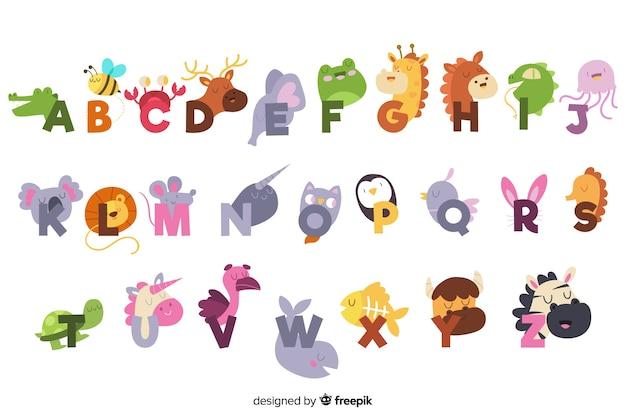 Alfabeto inglese carino con animali Vettore gratuito