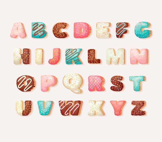 Alfabeto inglese ciambella dolce. alfabeto per bambini. set alfabetico in stile ciambelle da forno. carattere festa di auguri. Vettore Premium