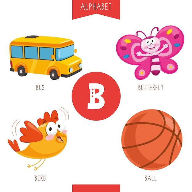 Alfabeto lettera b e immagini Vettore Premium