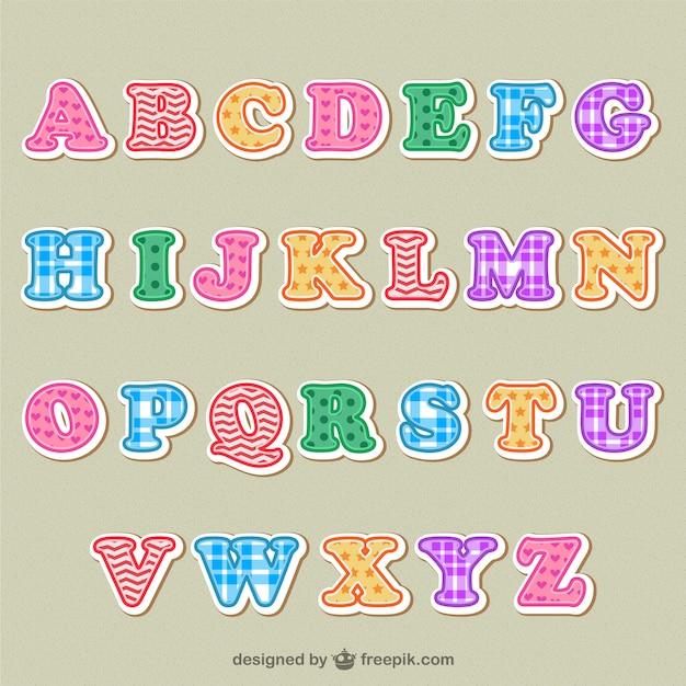 Alfabeto lettere colorate Vettore gratuito