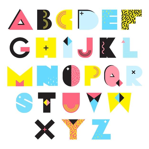 Alfabeto memphis style illustration Vettore gratuito