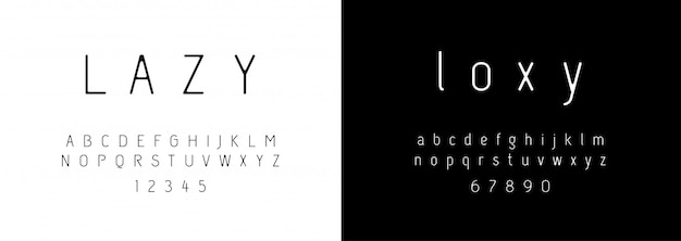 Alfabeto moderno di moda Vettore Premium