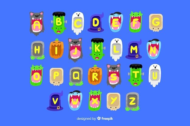 Alfabeto mostro di halloween Vettore gratuito