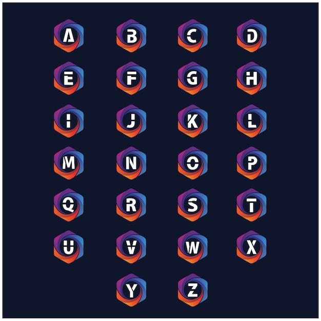 Alfabeto nella raccolta esagonale variopinta di vettore di logo Vettore Premium