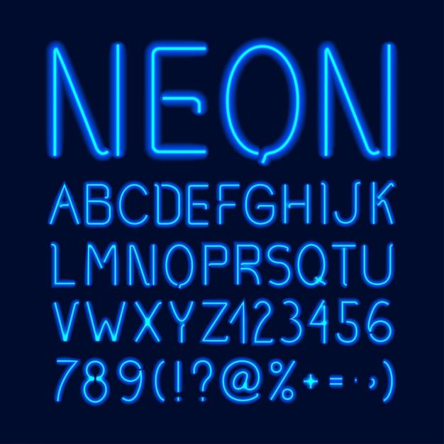 Alfabeto neon glow Vettore gratuito