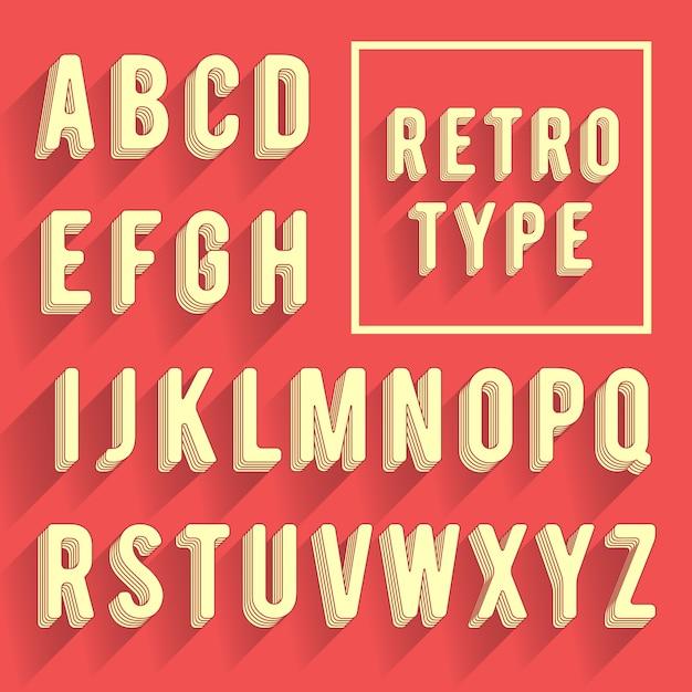 Alfabeto poster retrò. carattere retrò con ombra. lettere dell'alfabeto latino Vettore Premium