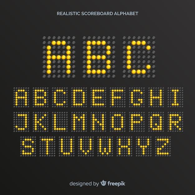 Alfabeto realistico del tabellone segnapunti Vettore gratuito