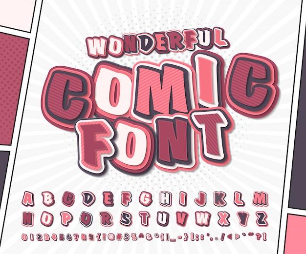 Alfabeto rosa dei cartoni animati in stile fumetto e pop art. carattere divertente di lettere e numeri per la pagina del libro di fumetti di decorazione Vettore Premium