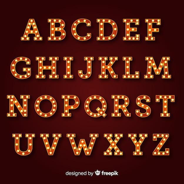 Alfabeto segno luminoso in stile vintage Vettore gratuito