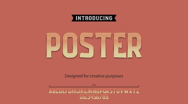 Alfabeto tipografia carattere tipografico di poster con lettere e numeri Vettore Premium