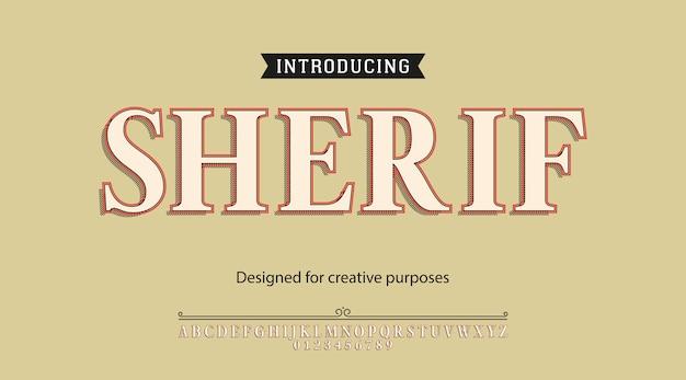 Alfabeto tipografia carattere tipografico sceriffo con lettere e numeri Vettore Premium