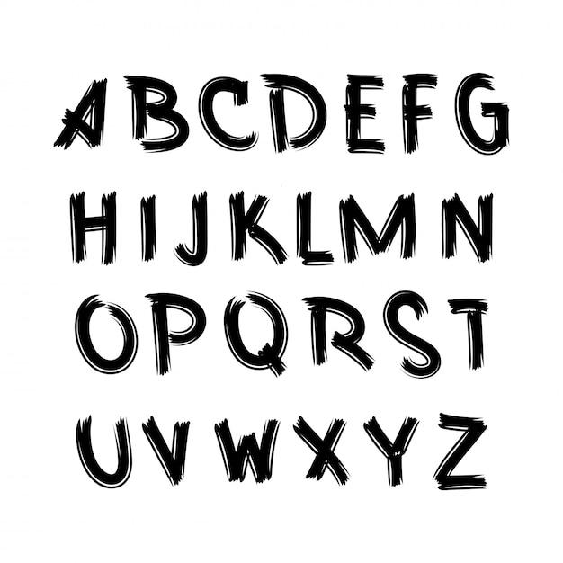 Alfabeto vettoriale Vettore Premium