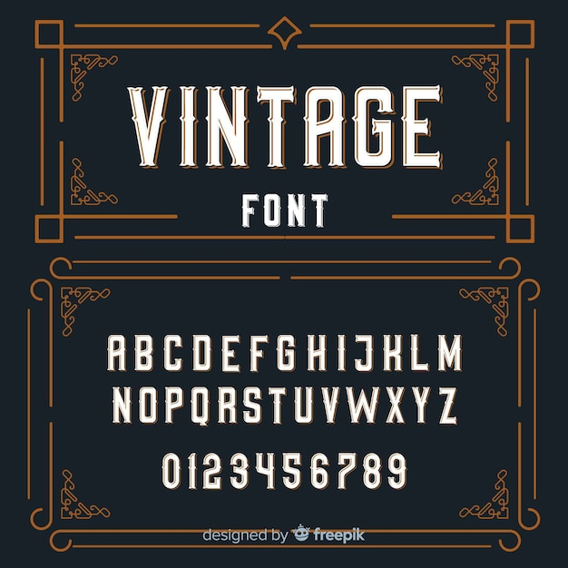 Alfabeto vintage Vettore gratuito