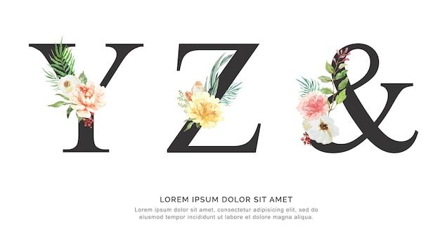 Alfabeto yz e fiore e foglie acquerello. Vettore Premium