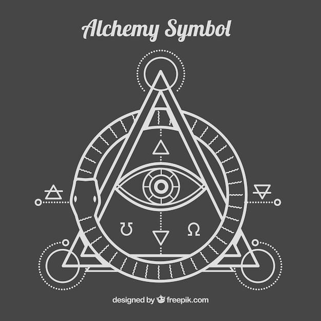 Alhemy simbolo in stile lineare Vettore gratuito