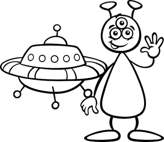 Alieno Con Ufo Per Il Libro Da Colorare Scaricare Vettori Premium