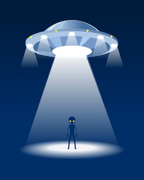 Alieno e ufo. sfondo di notte Vettore Premium