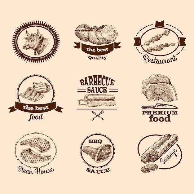 Alimento di carne miglior qualità bistecca premium decorativi etichette schizzo set isolato illustrazione vettoriale Vettore gratuito