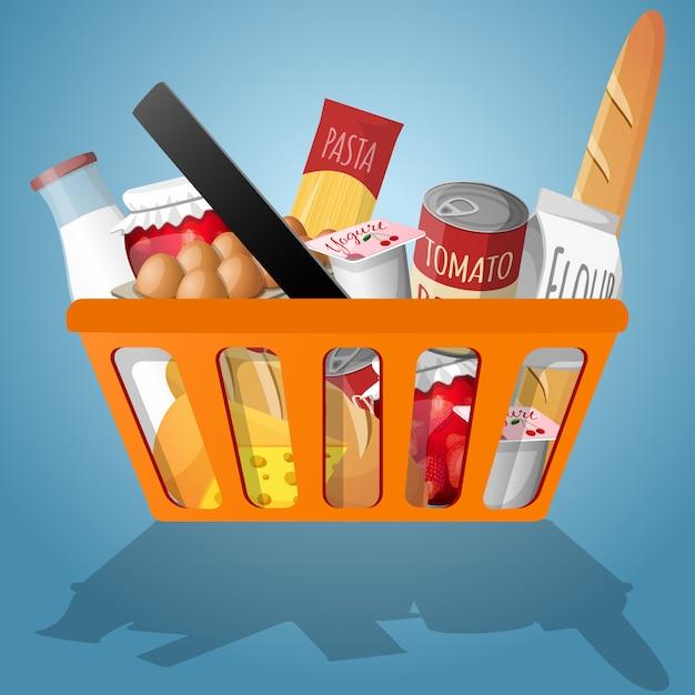 Alimento nell'illustrazione del cestino della spesa Vettore gratuito