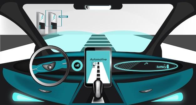 All'interno di sfondo automobilistico elettrico smart car Vettore Premium