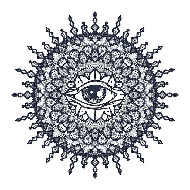 All seeing eye in mandala Vettore Premium