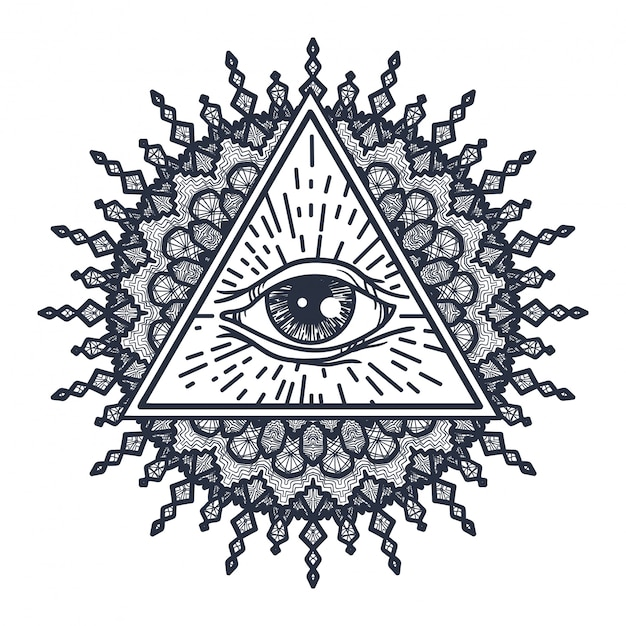 All seeing eye in triangle and mandala Vettore Premium