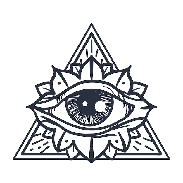 All seeing eye in triangle Vettore Premium