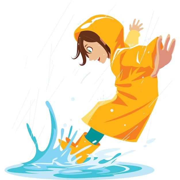 Alla ragazza piace calpestare le pozzanghere di pioggia nella stagione delle piogge. Vettore Premium
