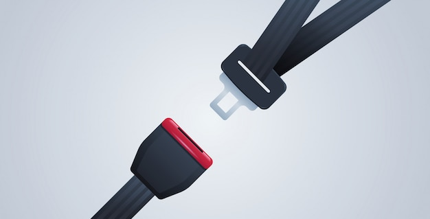 Allacciare la cintura di sicurezza, primo concetto di sicurezza di viaggio sicuro Vettore Premium