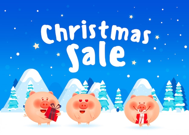 Allegri maiali grassi con scatole regalo Vettore Premium