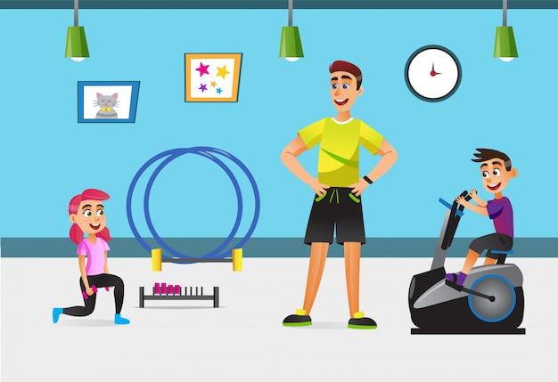 Allenamento dei bambini in palestra con attrezzatura sportiva. Vettore Premium